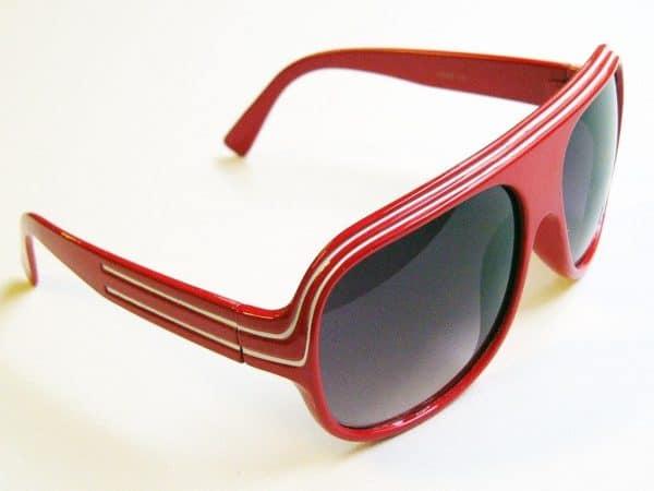 Billionaire Classic (rød / hvit) - Retro solglasögon